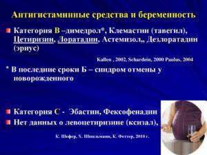 Антигистаминный препарат при беременности