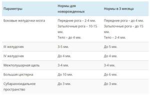 Передние рога боковых желудочков норма в 3 месяца