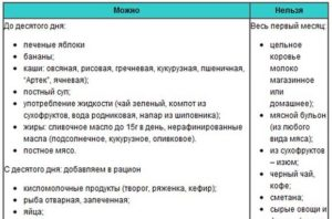 Список продуктов при грудном вскармливании в первый месяц