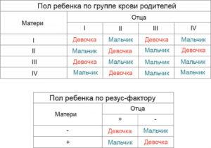 Как по группе крови родителей определить пол ребенка