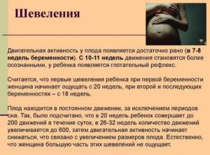 Активное шевеление плода на 20 неделе беременности